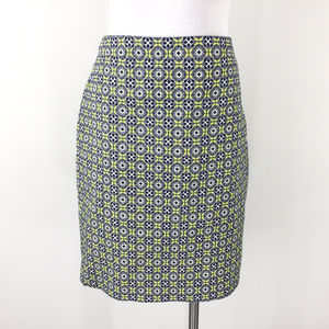 New J Crew L 12 Navy Blue Yellow medallion skirt